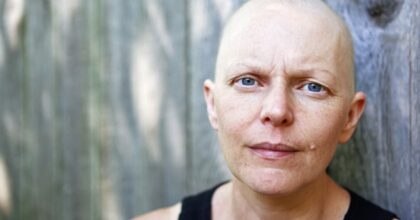 Portrait of a female cancer patient outside